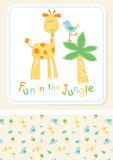 Fun in the Jungle. Vector illustration of an embroidery design of a cute giraffe and bird Royalty Free Stock Photography
