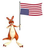 Fun Kangaroo cartoon character with flag. 3d rendered illustration of Kangaroo cartoon character with flag Stock Photography