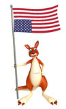 Fun Kangaroo cartoon character with flag. 3d rendered illustration of Kangaroo cartoon character with flag Royalty Free Stock Photos