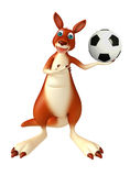 Fun Kangaroo cartoon character with football Stock Image