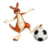 Fun Kangaroo cartoon character with football Stock Image