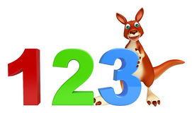 Fun Kangaroo cartoon character with 123 sign. 3d rendered illustration of Kangaroo cartoon character with 123 sign stock illustration