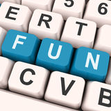 Fun Keys Show Enjoyable Exciting Or Pleasing. Fun Keys On Keyboard Showing Entertainment Pleasing Or Exciting Royalty Free Stock Photos