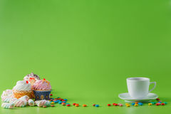 Fun kid party invitation card concept. Sweets and tea Stock Image