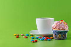 Fun kid party invitation card concept. Sweets and tea Stock Images