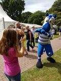 Fun for kids and the appearance of an MSV legend the mascot Ennatz. DUISBURG, GERMANY - 10 JUNE 2017 Fun for kids and the appearance of an MSV legend the mascot Royalty Free Stock Photo