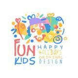 Fun kids, Happy Holidays original design logo colorful hand drawn vector Illustration Stock Photo