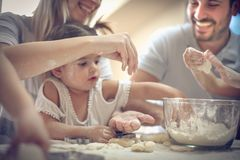 Fun in kitchen. royalty free stock images
