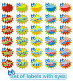 Fun label with eyes. Set of fun colorful labels or tags with cartoon eyes Royalty Free Stock Photography