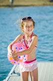 Fun at the lake young girl Royalty Free Stock Images