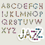 Fun latin alphabet. Set of fun latin alphabets with beads Royalty Free Stock Photo