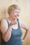 Fun laughing elderly woman portrait Royalty Free Stock Photos