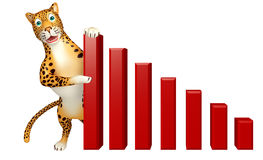 Fun Leopard cartoon character  with graph Stock Photos