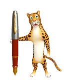 Fun Leopard cartoon character  with pen Stock Photos