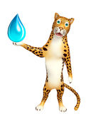 Fun Leopard cartoon character   with water drop Royalty Free Stock Photo