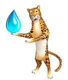 Fun Leopard cartoon character with water drop Stock Photos