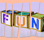 Fun Letters Mean Joy Pleasure And Excitement Stock Image