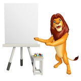 Fun Lion cartoon character with easel board. 3d rendered illustration of Lion cartoon character with easel board Royalty Free Stock Photo
