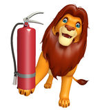 Fun Lion cartoon character with fire  extinguisher Royalty Free Stock Photography