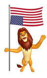 Fun Lion cartoon character with flag. 3d rendered illustration of Lion cartoon character with flag Royalty Free Stock Photos