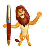 Fun Lion cartoon character with pen. 3d rendered illustration of Lion cartoon character with pen Stock Images