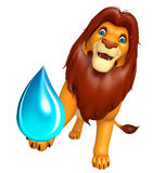 Fun  Lion cartoon character with water drop Royalty Free Stock Photography