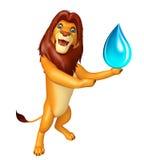 Fun  Lion cartoon character with water drop Stock Photos