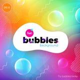 Fun liquid color background with bubbles. Fluid shapes composition. Children design pattern background. Eps10 vector. Fun liquid color background with bubbles stock illustration