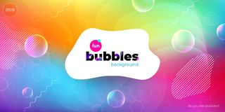 Fun liquid color background with bubbles. Fluid shapes composition. Children design pattern background. Eps10 vector. Fun liquid color background with bubbles vector illustration