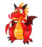 Fun little dragon. Cartoon funny red dragon on the white background Royalty Free Stock Photography