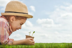 Fun little gardener Stock Images