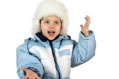 Fun little girl. With blue eyes, isolate on white Stock Photography
