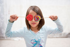 Fun with lollipops Stock Photo