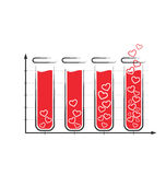 Fun love infographic icon with tubes of blood isolated on white Royalty Free Stock Photos