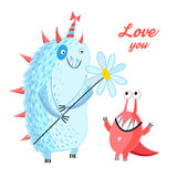 Fun loving monsters Stock Images