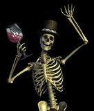 Fun Loving Party Skeleton - on black Royalty Free Stock Photos