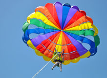 Fun-loving woman parasailing on summers day Royalty Free Stock Photo