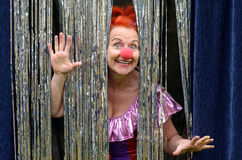 Fun loving woman in a red clown nose. Fun loving redhead woman in a red clown nose peeking through a glittering silvery curtail with outspread hands and a smile Royalty Free Stock Photography