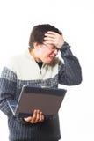 Fun man with laptop Royalty Free Stock Image