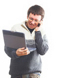 Fun man with laptop Royalty Free Stock Photos