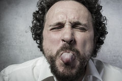 Fun, man in white shirt with funny expressions Stock Photos