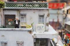 a fun of Mini models display of old HK life Stock Images