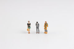 The fun mini people at white board Royalty Free Stock Images