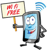 Fun mobile cartoon with wi fi signboard Stock Images