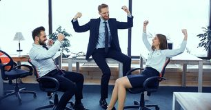 Fun moments of office workers stock photography