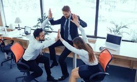 Fun moments of office workers royalty free stock photos