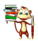 Fun Monkey cartoon character with book and pen. 3d rendered illustration of Monkey cartoon character with book and pen Stock Photography