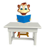Fun Monkey cartoon character with book and table and chair Stock Photography