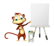 Fun Monkey cartoon character with easel board Stock Photography