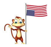 Fun Monkey cartoon character with flag Royalty Free Stock Photos